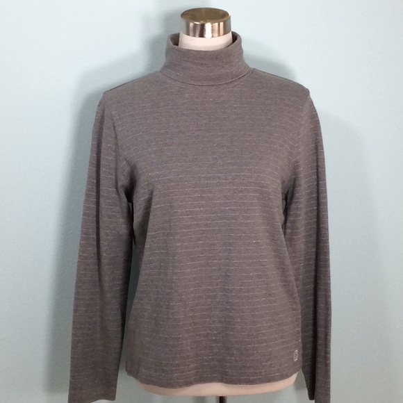 Liz Claiborne Sweaters - Gray/Silver Metallic Striped LongSleeve Turtleneck